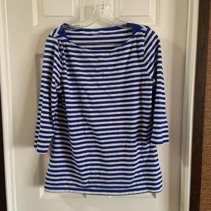 Merona Blue/White Striped 3/4 Sleeve Blouse L